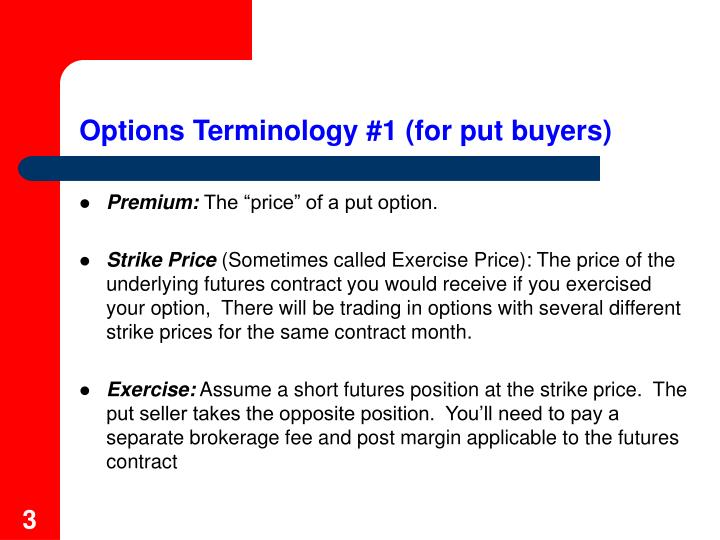 Options Terminology #1 (for put buyers)