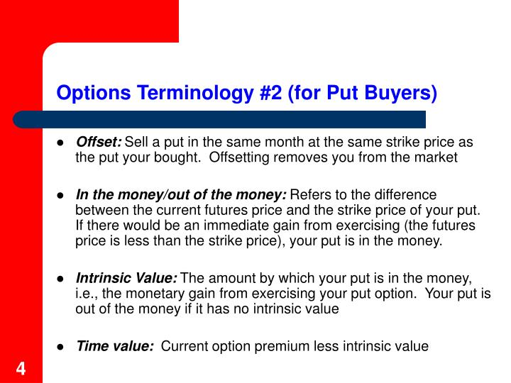 Options Terminology #2 (for Put Buyers)