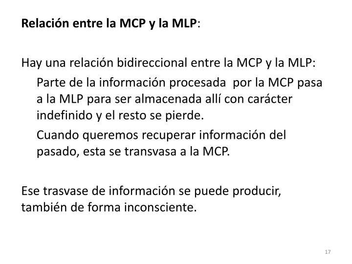 Relación entre la MCP y la MLP
