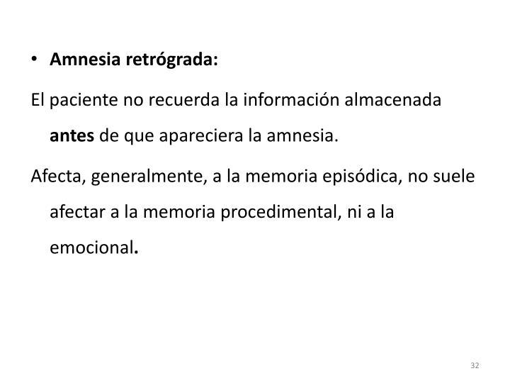 Amnesia retrógrada: