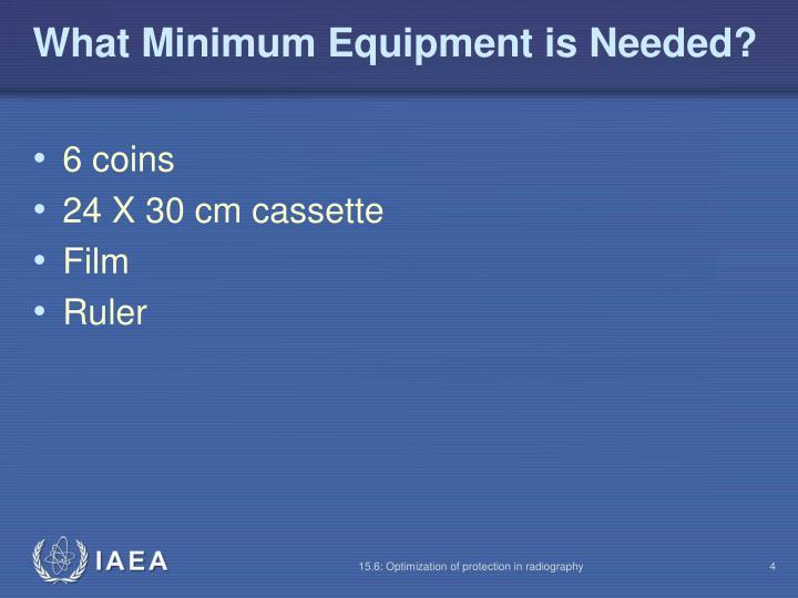 What Minimum Equipment is Needed?
