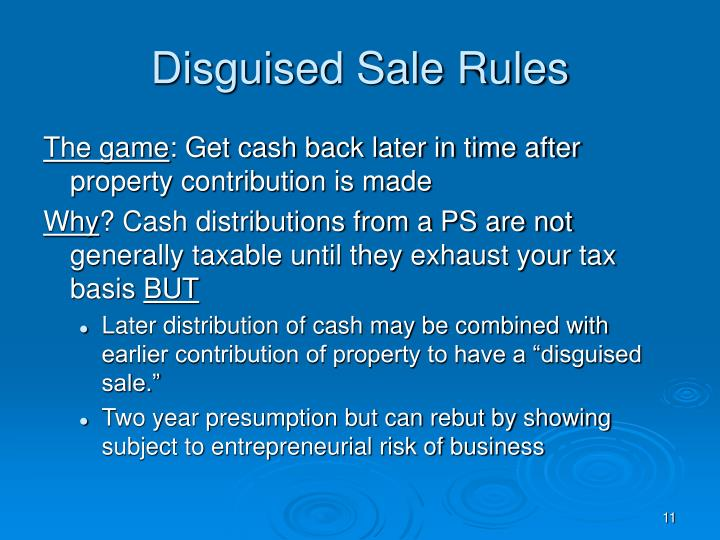 Disguised Sale Rules