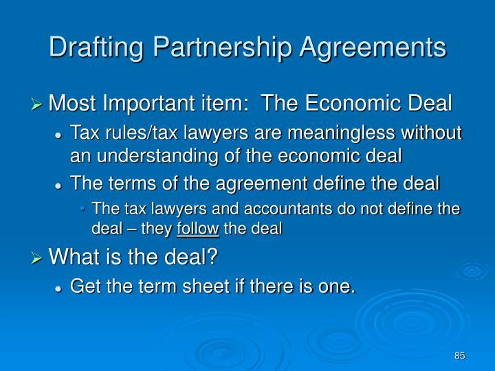 Drafting Partnership Agreements