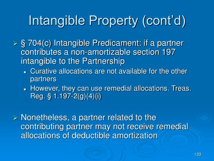 Intangible Property (cont'd)