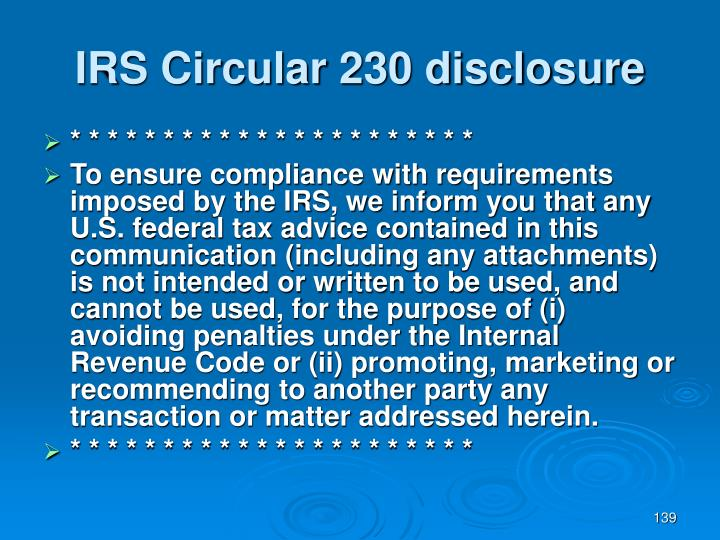 IRS Circular 230 disclosure