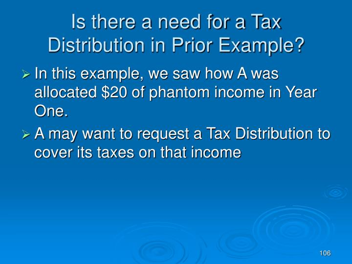 Is there a need for a Tax Distribution in Prior Example?