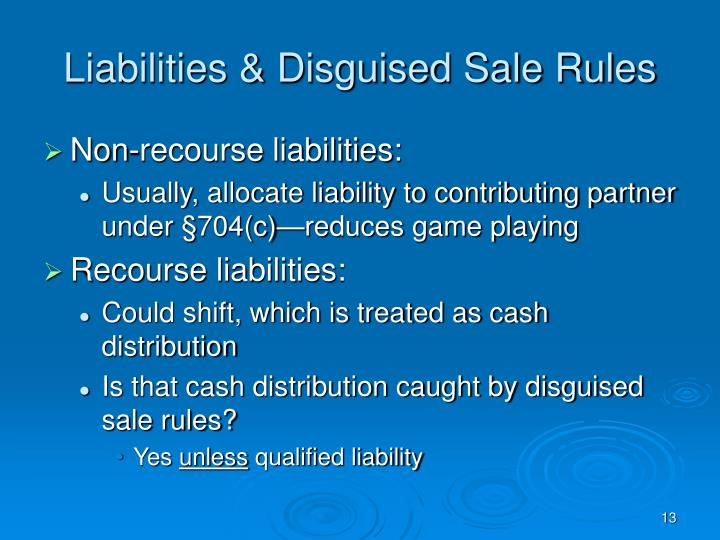 Liabilities & Disguised Sale Rules
