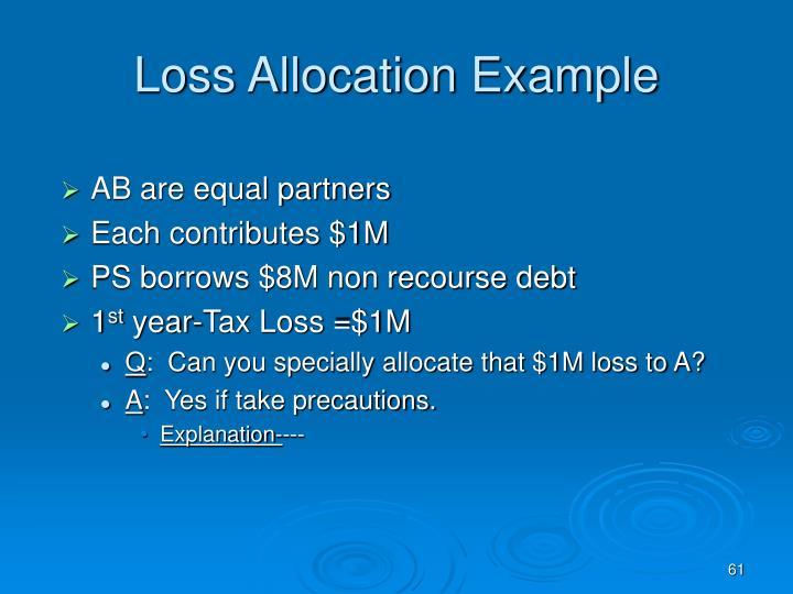 Loss Allocation Example