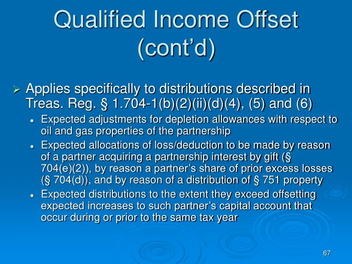 Qualified Income Offset (cont'd)