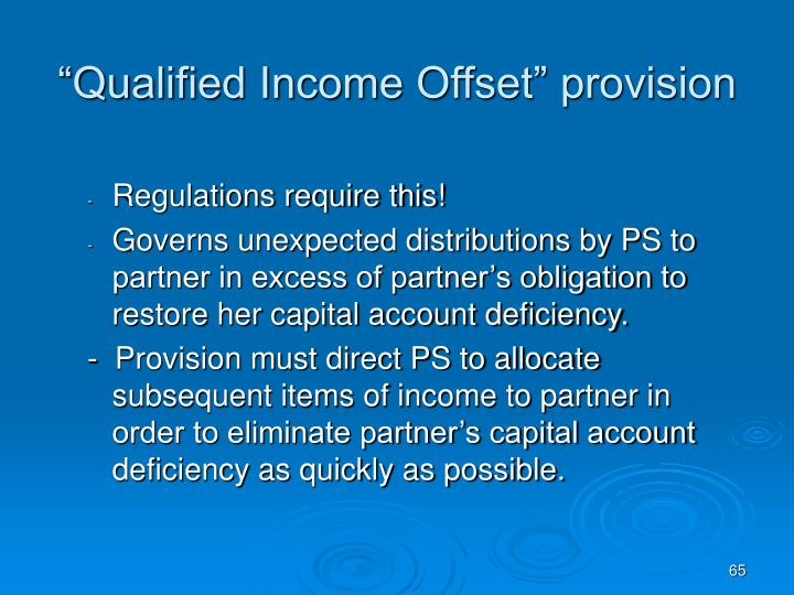 """""""Qualified Income Offset"""" provision"""