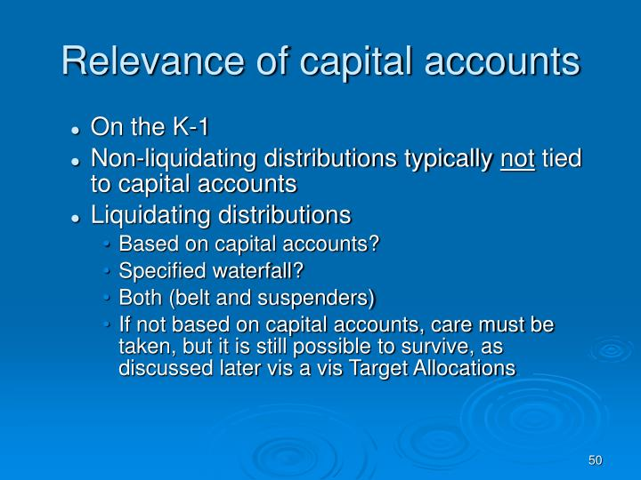 Relevance of capital accounts