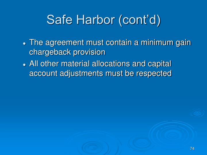 Safe Harbor (cont'd)