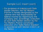 sample llc insert cont