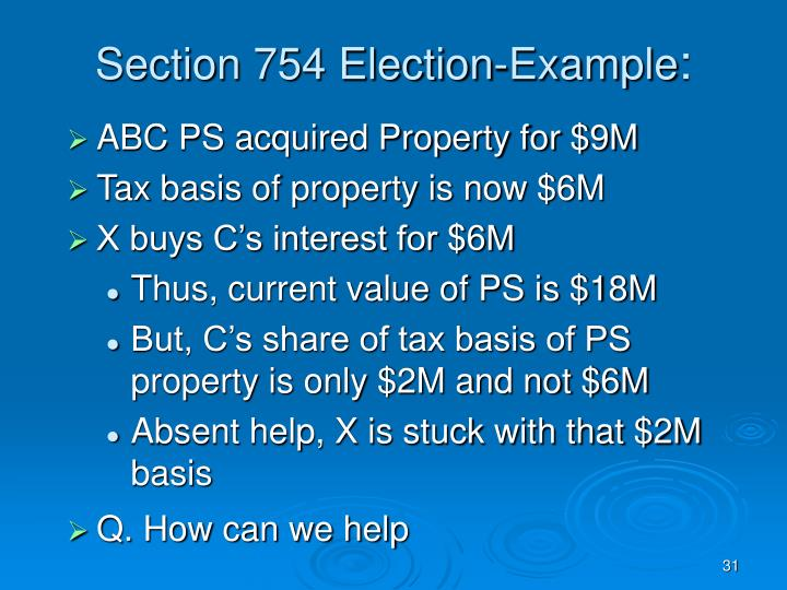 Section 754 Election-Example