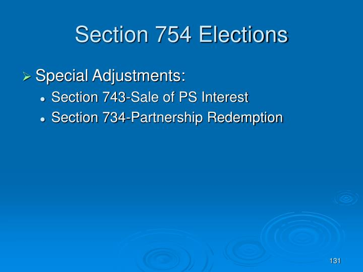Section 754 Elections