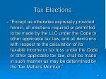 tax elections