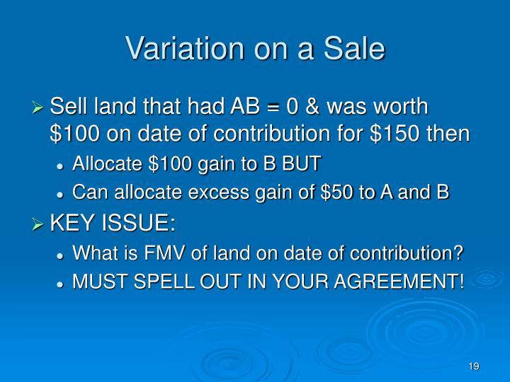 Variation on a Sale