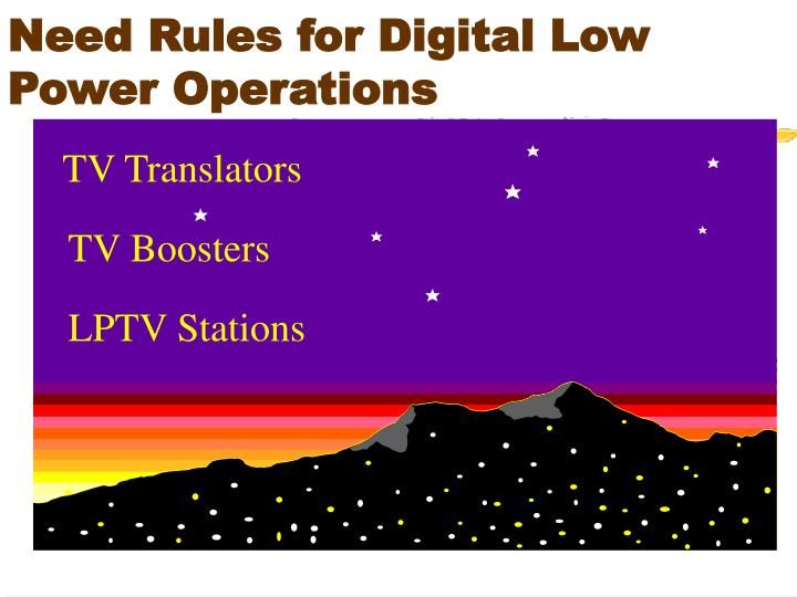 Need Rules for Digital Low Power Operations