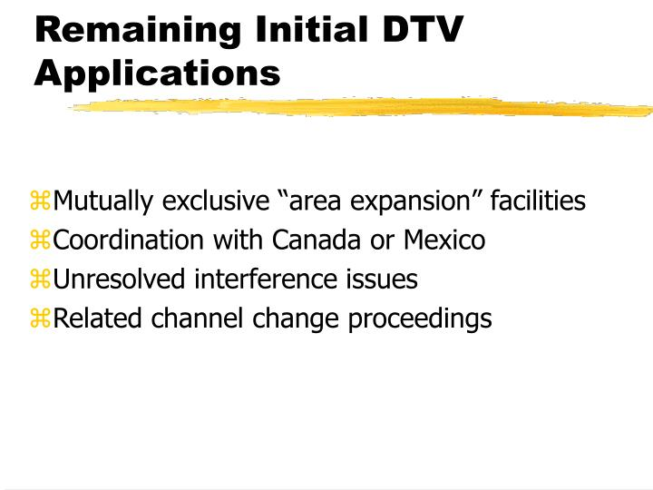 Remaining Initial DTV Applications