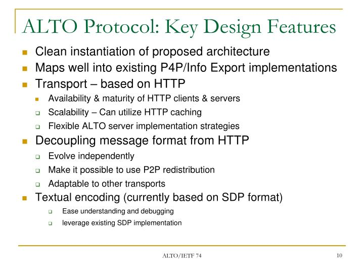 ALTO Protocol: Key Design Features