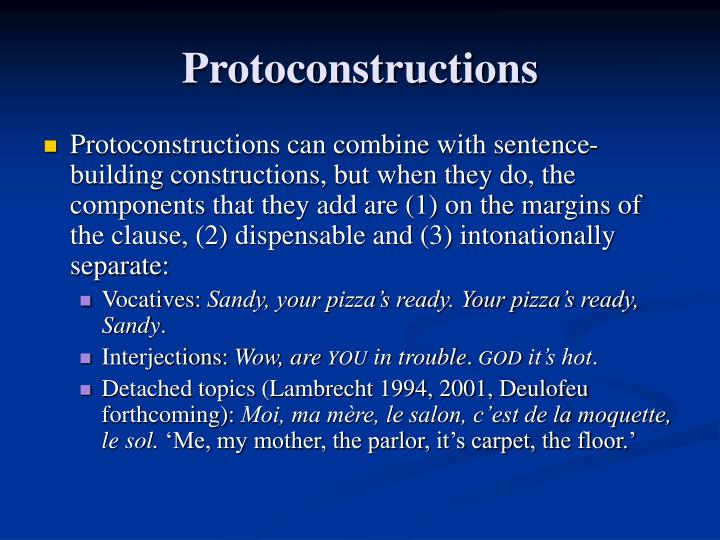 Protoconstructions
