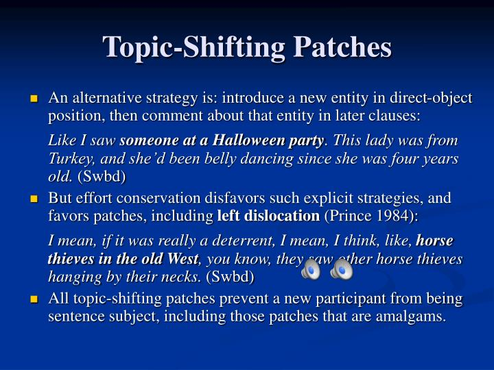 Topic-Shifting Patches