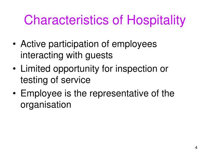 Characteristics of Hospitality