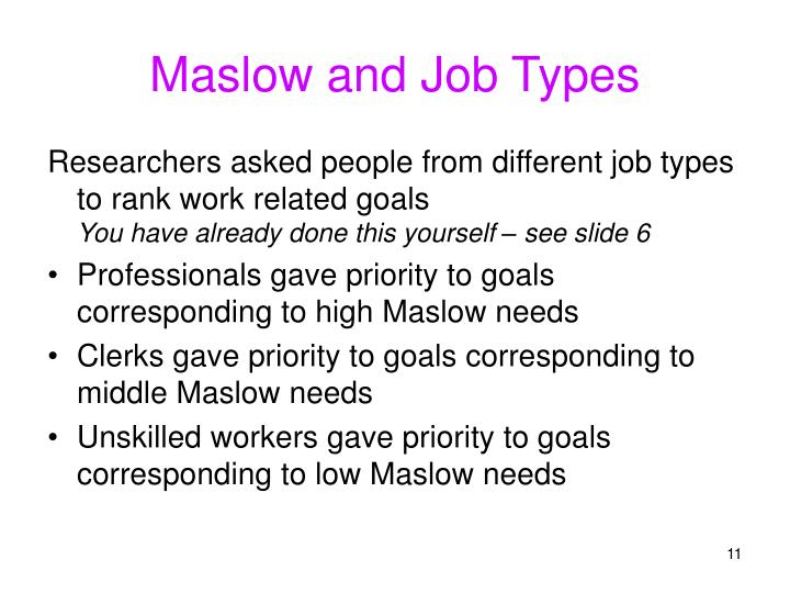 Maslow and Job Types