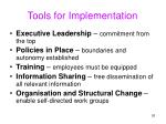 tools for implementation