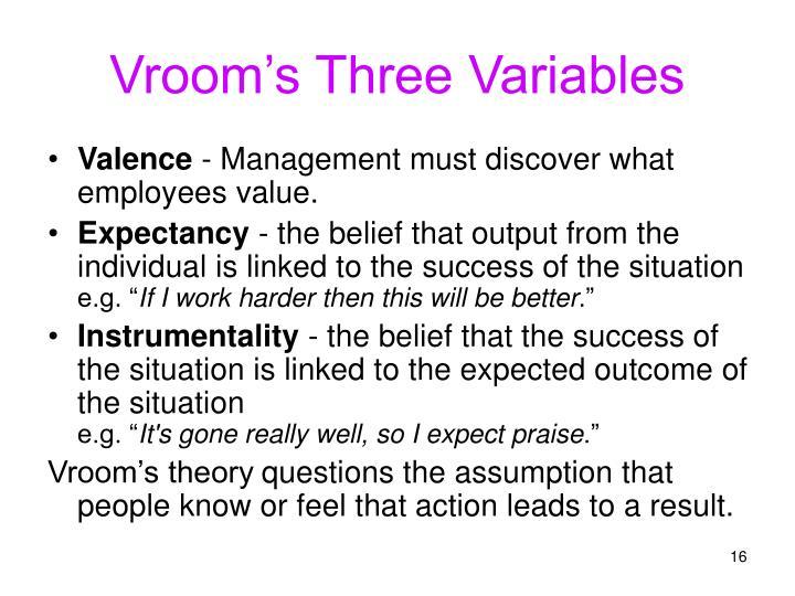Vroom's Three Variables
