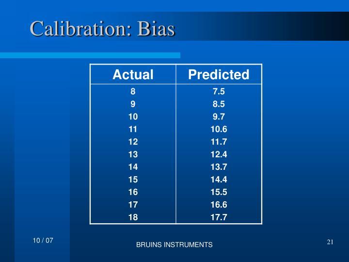 Calibration: Bias