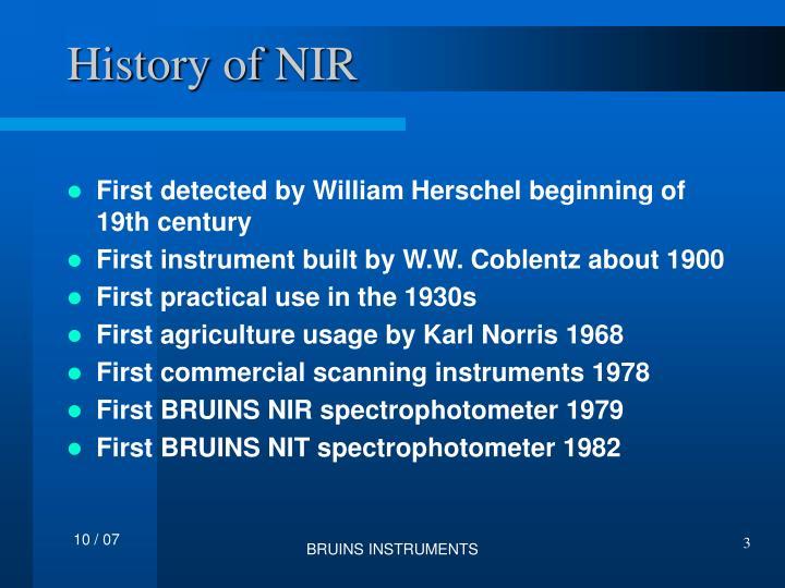 History of NIR