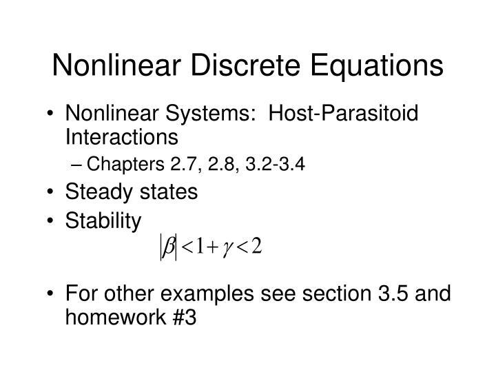 Nonlinear Discrete Equations