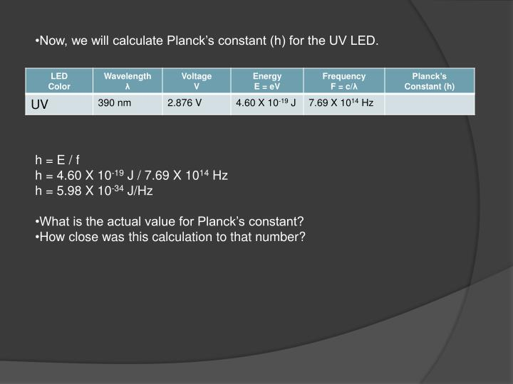 Now, we will calculate Planck's constant (h) for the UV LED.
