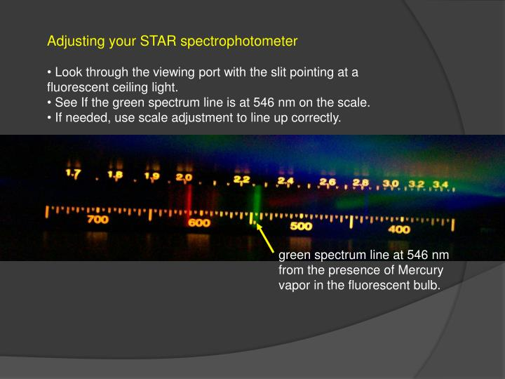 Adjusting your STAR spectrophotometer