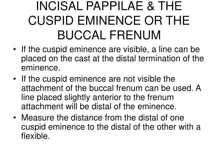INCISAL PAPPILAE & THE CUSPID EMINENCE OR THE BUCCAL FRENUM
