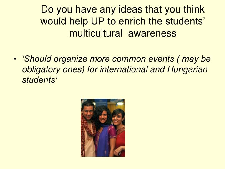 Do you have any ideas that you think would help UP to enrich the students' multicultural  awareness