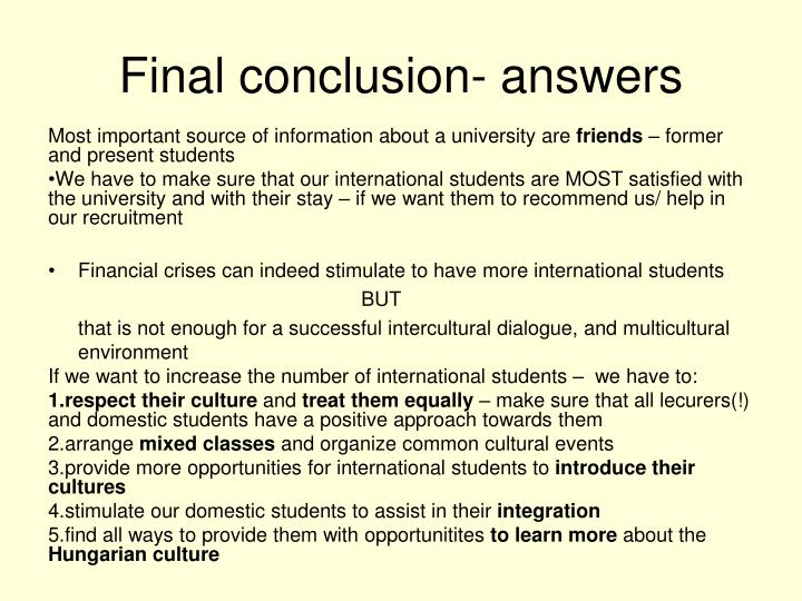 Final conclusion- answers