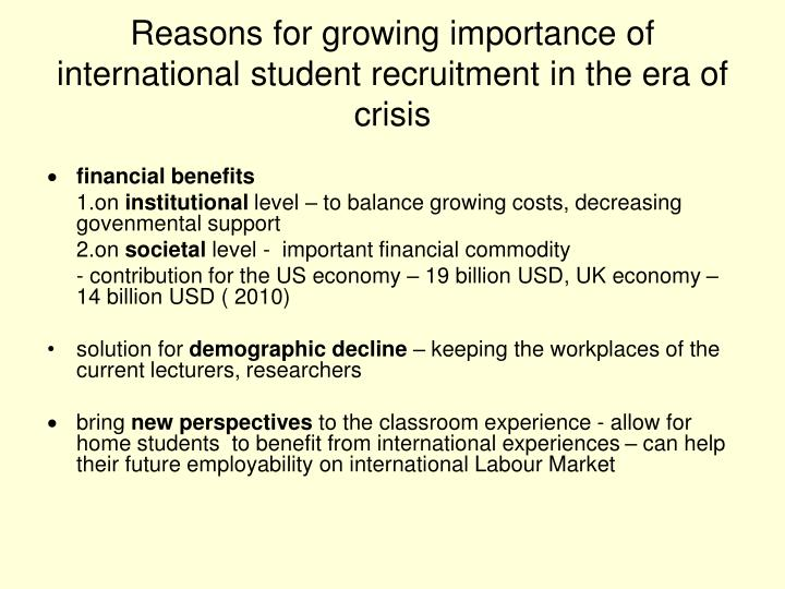 Reasons for growing importance of international student recruitment in the era of crisis