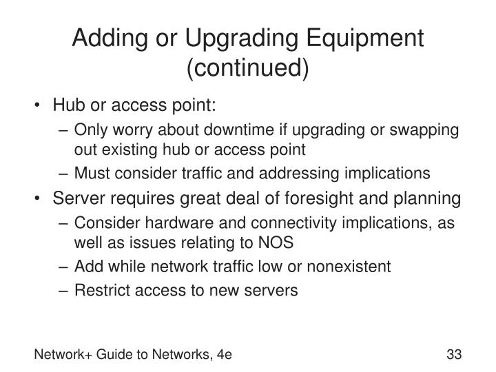 Adding or Upgrading Equipment (continued)