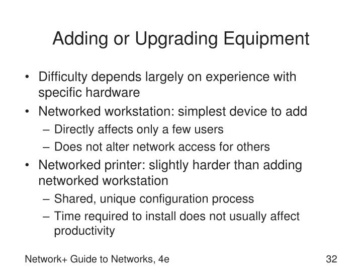 Adding or Upgrading Equipment