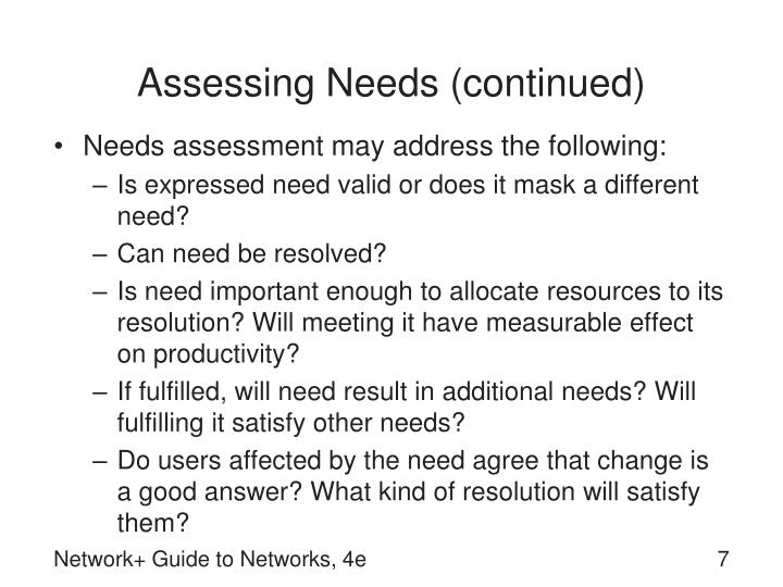 Assessing Needs (continued)
