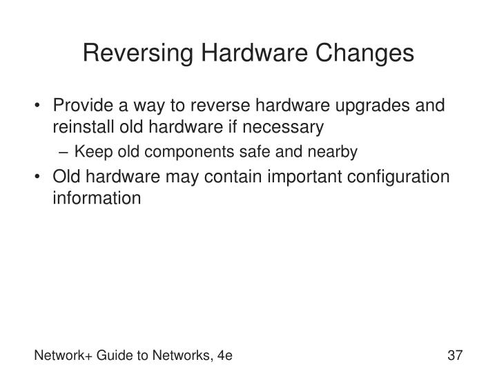 Reversing Hardware Changes