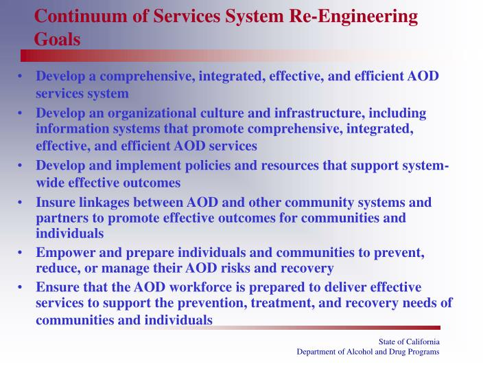 Continuum of Services System Re-Engineering