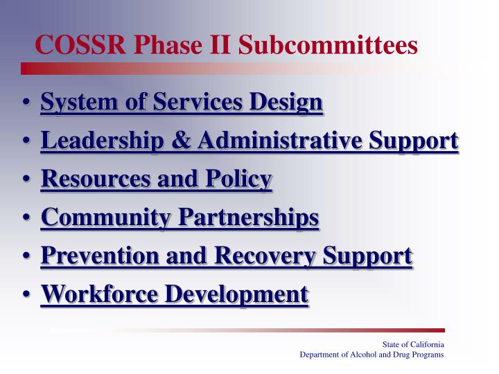 COSSR Phase II Subcommittees