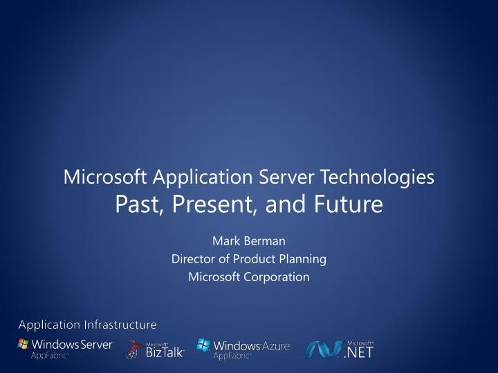 Microsoft application server technologies past present and future