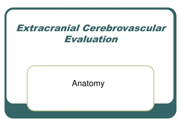 Extracranial cerebrovascular evaluation
