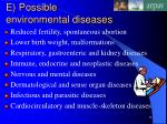 e possible environmental diseases
