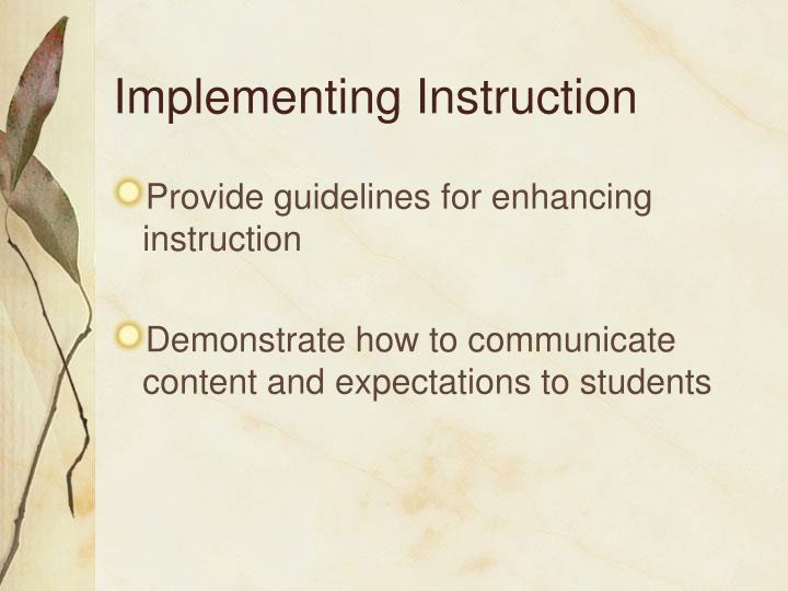 Implementing Instruction