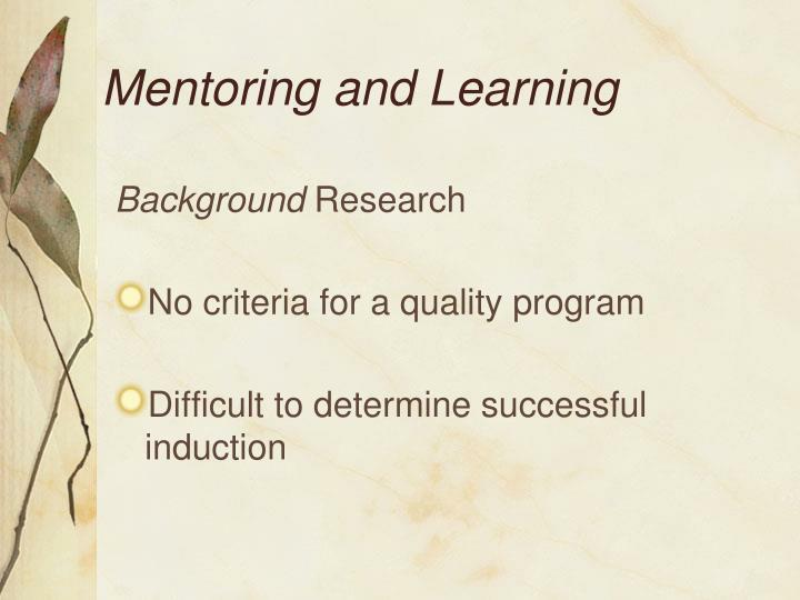 Mentoring and Learning